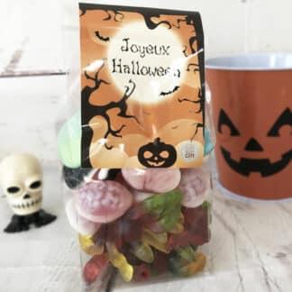 Sachet de Bonbons gélifiés Halloween : 10 araignées, 20 cerveaux roses et bleus et 20 visages effrayants (400g)