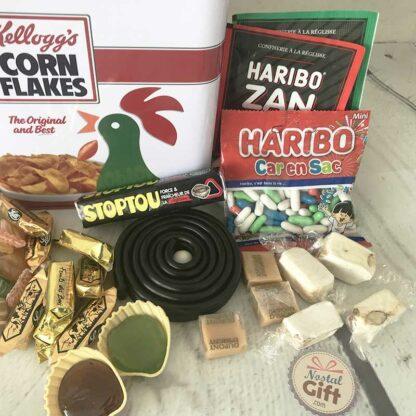 Coffret bonbon ancien - Boîte en métal Corn Flakes de Kellogg's