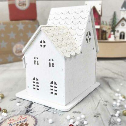 Petite église en bois peint blanc lumineuse - décoration Noël