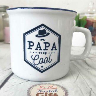 """Tasse """"Papa trop cool"""" bleu"""