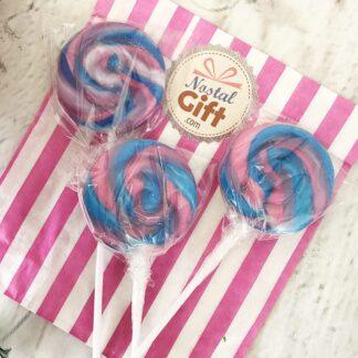 Sucette ronde de fête foraine - Bubble Gum x3