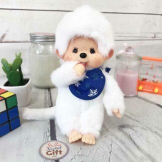 Kiki - Blanc hiver avec bavoir bleu ( Monchhichi )