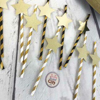 Pailles en papier dorées étoile - lot de 10