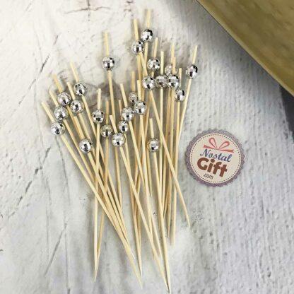 Pic Apéro boule argentée  à facette - 24 pièces