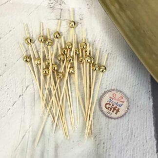 Pic Apéro boule dorée à facettes - 24 pièces