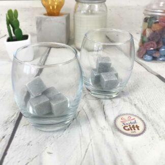 Coffret Cadeau - Whisky : 8 Pierres et leur filet de rangement et 2 verres