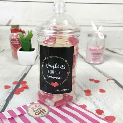 """Bonbonnière Saint Valentin - Jelly Beans forme de coeur x150  - """"My Love"""""""