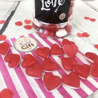 """Bonbonnière Saint Valentin - Bonbons petits coeurs rouge et blanc Haribo x 100 - """"Pour son amoureux"""""""