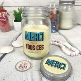 """Bougie Jar - """"Merci pour tout"""" -  Cadeau remerciement"""