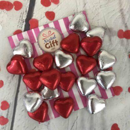 Coeurs chocolats fourrés caramel X20 - mix argenté et rouge
