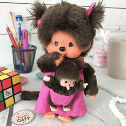 Peluche Monchhichi Kiki -  Maman et bébé (20 cm)