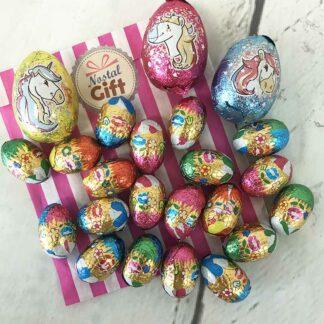 Sachet de Pâques - Oeufs au chocolat praliné en aluminium x 20 et ses oeufs Licorne x 3