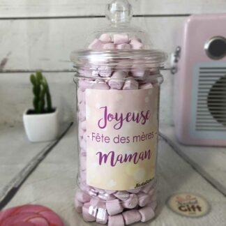 """Bonbonnière maman – """"Joyeuse fête des mères"""" - 360 Mini chamallow"""