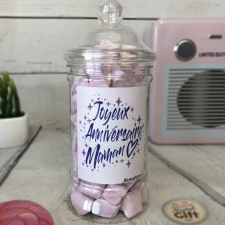 """Bonbonnière maman – """"Joyeux anniversaire maman"""" - 80 Petits cœurs guimauve"""