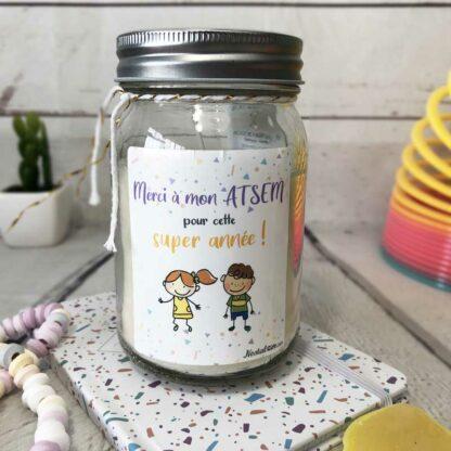 """Bougie Jar """"Merci à mon Atsem pour cette super année"""" - cadeau Atsem – Dessins d'enfants"""