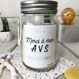 """Bougie Jar """"Merci à mon AVS pour cette année"""" - cadeau AVS"""