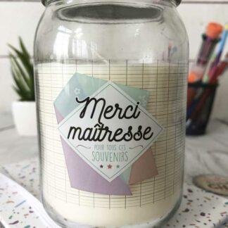 """Bougie Jar - """"Merci maîtresse pour tous ces souvenirs"""" - Cadeau Maîtresse (collection géométrique))"""