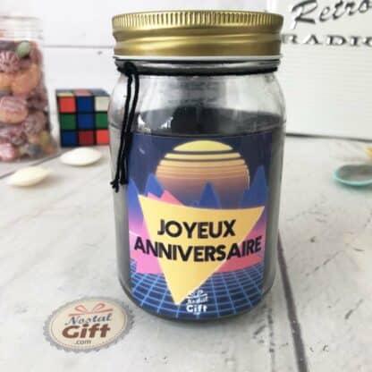 """Bougie Jar """"Joyeux anniversaire"""" – Années 80 – Cadeau anniversaire"""