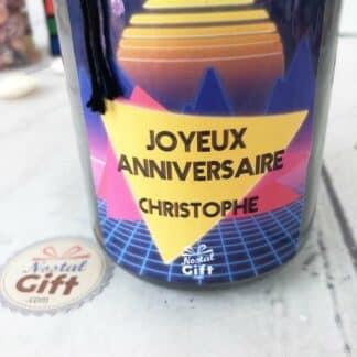 """Bougie Jar personnalisée """"Joyeux anniversaire"""" – Années 80 – Cadeau anniversaire"""