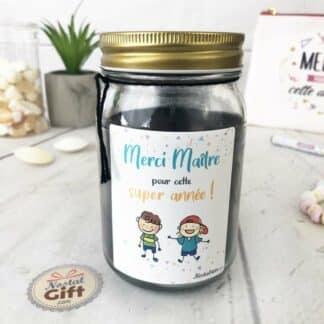 """Bougie Jar """"Merci Maître pour super cette année"""" - cadeau maître – Dessins d'enfants"""