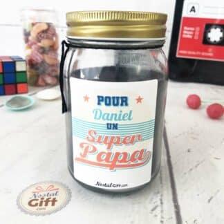 """Bougie Jar personnalisée """"Pour un Super Papa"""" - cadeau papa"""