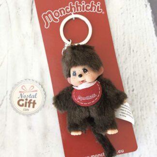 Porte clé Monchhichi Kiki - bavoir rouge - 10cm
