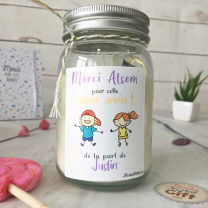 """Bougie Jar personnalisée """"Merci à mon Atsem pour cette super année"""" - cadeau Atsem – Dessins d'enfants"""