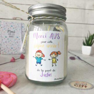 """Bougie Jar personnalisée """"Merci à mon AVS pour cette super année"""" - cadeau AVS – Dessins d'enfants"""