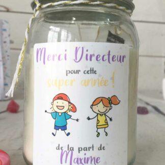 """Bougie Jar personnalisée """"Merci Directeur pour cette super année!"""" - cadeau Directeur école – Dessins d'enfants"""