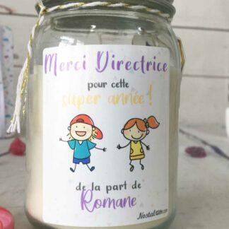 """Bougie Jar  personnalisée """"Merci Directrice pour cette super année!"""" - cadeau Directrice école – Dessins d'enfants"""
