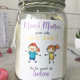 """Bougie Jar personnalisée """"Merci Maître pour cette super année"""" - cadeau maître – Dessins d'enfants"""