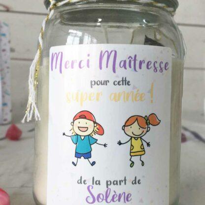 """Bougie Jar personnalisée """"Merci Maîtresse pour cette année!"""" - cadeau maîtresse – Dessins d'enfants"""