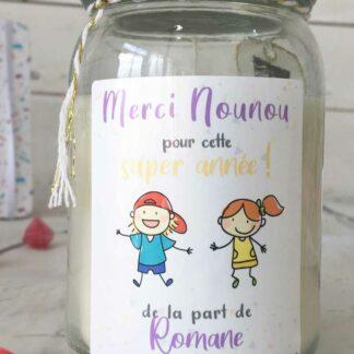 """Bougie Jar personnalisée """"Merci Nounou pour cette super année!"""" - cadeau Nounou – Dessins d'enfants"""
