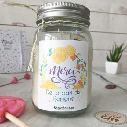 """Bougie Jar personnalisée """"Merci"""" – Cadeau remerciement"""