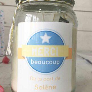 """Bougie Jar personnalisée """"Merci beaucoup"""" - Cadeau remerciement"""
