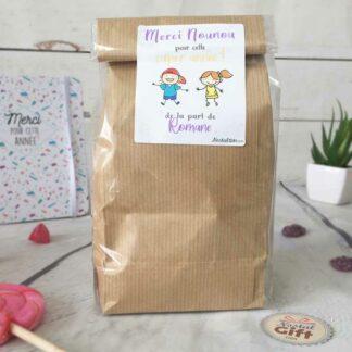 Sachet Bonbon des années 80  personnalisé - Cadeau Nounou - Dessins d'enfants