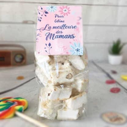 """Sachet bonbons personnalisé - 20 nougats - """"Pour la meilleure des mamans"""""""