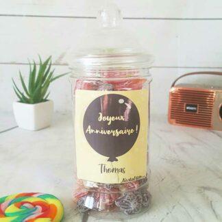 Bonbonnière personnalisée - 300g mix de bonbons anciens - Anniversaire Ballon
