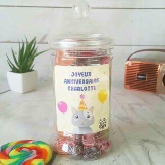Bonbonnière personnalisée - 300g mix de bonbons anciens - Anniversaire Chat