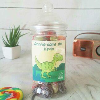 Bonbonnière personnalisée - 300g mix de bonbons anciens - Anniversaire Dino