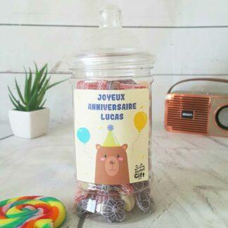 Bonbonnière personnalisée - 300g mix de bonbons anciens - Anniversaire Ours
