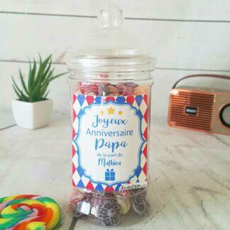Bonbonnière personnalisée - 300g mix de bonbons anciens - Joyeux anniversaire Papa