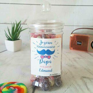 Bonbonnière personnalisée - 300g mix de bonbons anciens - Joyeux anniversaire Papa - moustache