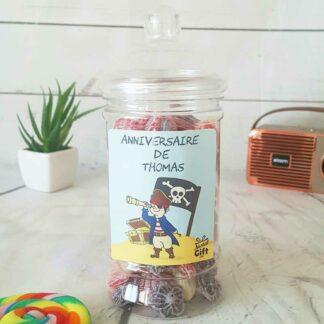 Bonbonnière personnalisée - 300g mix de bonbons anciens - Anniversaire pirate