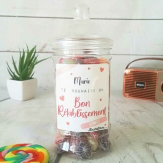 Bonbonnière personnalisée - 300g mix de bonbons anciens - Bon rétablissement