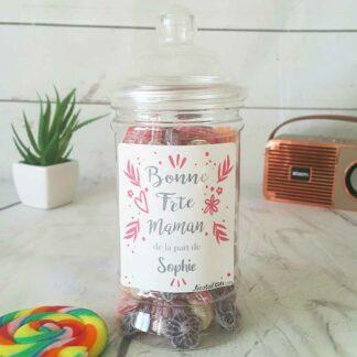 Bonbonnière personnalisée - 300g mix de bonbons anciens - Bonne fête Maman