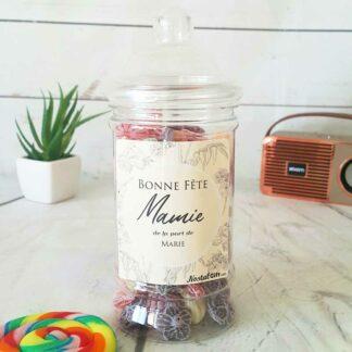 Bonbonnière personnalisée - 300g mix de bonbons anciens - Bonne fête Mamie