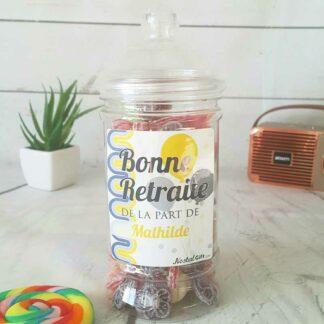 Bonbonnière personnalisée - 300g mix de bonbons anciens - Bonne retraite
