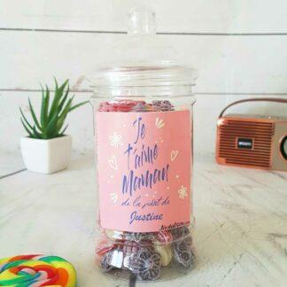 Bonbonnière personnalisée - 300g mix de bonbons anciens - Je t'aime maman