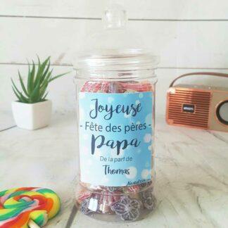 Bonbonnière personnalisée - 300g mix de bonbons anciens - Joyeuse fête des pères
